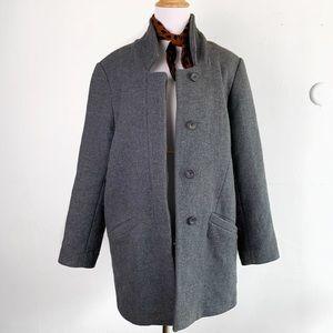ZARA Medium Gray Charcoal Pea Coat Wool Blend